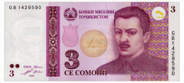 TADJIKISTAN 3 SOMONI 2010 Pick 20 Unc - Tadschikistan
