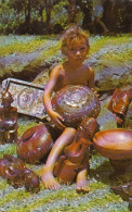 French Polynesia - Marquesas Islands - Tahiti - Young Boy Presenting Wood Sculptures - 2 Scans - French Polynesia