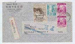 Peru/Switzerland REGISTERED AIRMAIL COVER 1947 - Peru