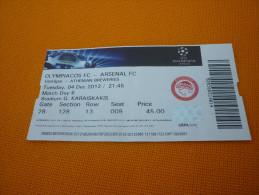 Olympiacos-Arsenal UEFA Champions League Football Match Ticket Stub 04/12/2012 - Tickets D'entrée