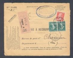 RECOUVREMENT / VALEURS A RECOUVRER Devant Env 1488 Tarif 1,1 Fr Tarif 09/08/1926  2 X 10 C Semeuse 90 C Pasteur - Marcophilie (Lettres)