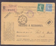 RECOUVREMENT / VALEURS A RECOUVRER Devant Env 1488 Tarif 1,1 Fr Tarif 09/08/1926  1 Fr Et 10 C Semeuse - Postmark Collection (Covers)
