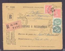 RECOUVREMENT / VALEURS A RECOUVRER Devant Env 1488 Tarif 1,1 Fr Tarif 09/08/1926 Blois  50 C Semeuse X 2 5 C Blanc X 2 - Postmark Collection (Covers)