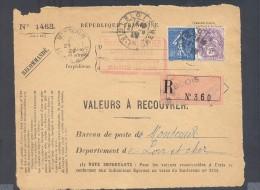 RECOUVREMENT / VALEURS A RECOUVRER Devant Env 1488 Tarif 1,1 Fr Tarif 09/08/1926 Blois  1 Fr Semeuse 10 C Blanc - Poststempel (Briefe)