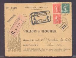RECOUVREMENT / VALEURS A RECOUVRER Devant Env 1488 Tarif 1,1 Fr Tarif 09/08/1926 Pelissanne 50 C X 2 Et 10 C  Semeuse - Poststempel (Briefe)