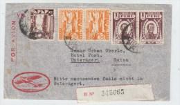 Peru/Switzerland REGISTERED AIRMAIL COVER 1946 - Peru