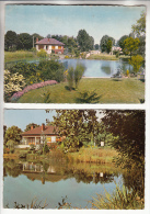 LE PLESSIS TREVISE 94 - Petit Lot De 2 CPSM GF : Rond Point Du Val Roger : L'Etang - Val De Marne - Le Plessis Trevise