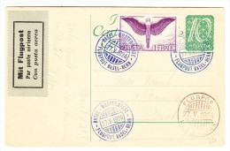 Flugpost Ganzsache  27.5.1924 Basel-Mustermesse Flugpost Basel-Bern - Poste Aérienne