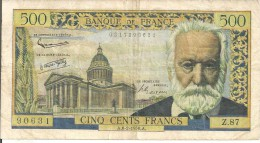 BILLETS - 500 F - VICTOR HUGO - A-6-2-1958.A.N° Z. 87 - 1871-1952 Circulated During XXth