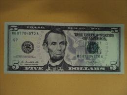 US USA 5 Dollars UNC Banknote 2013 - Verenigde Staten