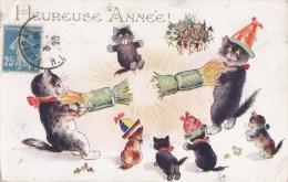 Belle CPA  CHATS Voeux  HEUREUSE ANNEE  CHATS Et CHATONS S' Amusent FETE Nouvel An 1923 - Cats