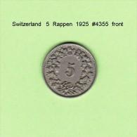 SWITZERLAND   5  RAPPEN  1925  (KM # 26) - Suiza