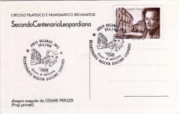 Italia 1998 Recanati Bicentenario Nascita Writer Poet Giacomo Leopardi Annullo FDC - Escritores