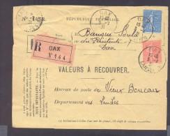RECOUVREMENT / VALEURS A RECOUVRER Devant Env 1488 Tarif 1,5 Fr Tarif 21/04/1930 Dax 1 Fr  Et 50 C Semeuse - Poststempel (Briefe)