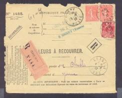 RECOUVREMENT / VALEURS A RECOUVRER Devant Env 1488 Tarif 1,5 Fr Tarif 21/04/1930 Cheny 50 C Exposition Internationale - Poststempel (Briefe)