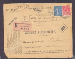 RECOUVREMENT / VALEURS A RECOUVRER Devant Env 1488 Tarif 1,5 Fr Tarif 21/04/1930 St Sever 50 C Exposition Internationale - Postmark Collection (Covers)