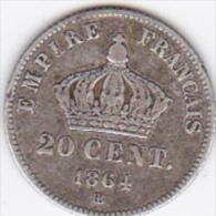 SECOND EMPIRE .20 CENTIMES 1864 BB ( STRASBOURG) NAPOLEON III Tête Laurée . ARGENT - Francia