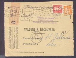 RECOUVREMENT / VALEURS A RECOUVRER Devant Env 1488 Tarif 1,75 Fr Tarif 18/07/1932 Paris 75 Callot - Postmark Collection (Covers)