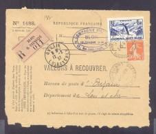 RECOUVREMENT / VALEURS A RECOUVRER Devant Env 1488 Tarif 1,75 Fr Tarif 18/07/1932 Blois 1,50 Fr Chamonix - Storia Postale