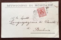 1909 - MUNICIPIO DI RONCADE  - CARTOLINA DEL SINDACO PER BUDRIO - Pubblicitari