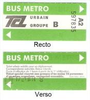 """Ticket """"Groupe"""" (m�tro et bus) r�seau TCL � Lyon. 1987."""