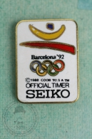 Olympic Games - Barcelona 1992 - Seiko Oficial Timer Advertising - Pin Badge #PLS - Juegos Olímpicos