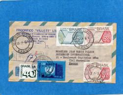 MARCOPHILIE-BRESIL -lettre Avion REC -pour Françe  Cad 1976-bel Affranchissement - Brésil