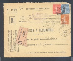 RECOUVREMENT / VALEURS A RECOUVRER Devant Env 1488 Tarif 1,75 Fr Tarif 18/07/1932 Bordeaux Semeuse - Marcophilie (Lettres)
