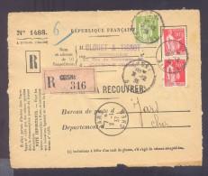 RECOUVREMENT / VALEURS A RECOUVRER Devant Env 1488 Tarif 1,75 Fr Tarif 18/07/1932 Cosne  Paix - Marcophilie (Lettres)