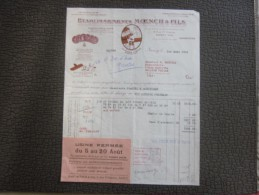 1939 Facture Etb Moench Pâtisserie Nancy>épicerie Biscuit Toulon Casino Solliés Toucas+usine Fermée Aout>congé Payés - Alimentaire