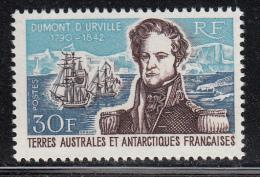 French Southern & Antarctic Territory MNH Scott #30 30fr Jules Sebastien Cesar Dumont D'Urville, French Naval Commander - Terres Australes Et Antarctiques Françaises (TAAF)