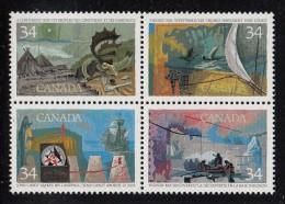 Canada MNH Scott #1107a Block Of 4 34c Exploration Of Canada I - Discoverers With #1104i Crossed ´N´ In ´CANADA´ - Variétés Et Curiosités