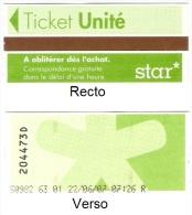 """Ticket """"Unit�"""" (bus) r�seau STAR � Roanne. 2007."""