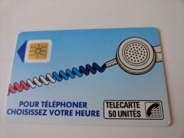 RARE : CORDON TÉLÉPHONE SUR FOND BLEU SO2  50 UNTITES SUR 120 UNITES - Francia