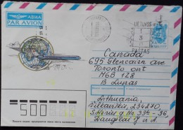 3824. USSR Lithuania 1991 Cover to Canada on USSR Envelope MI #U23
