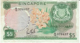 Singapore #2a, 5 Dollar 1967 Banknote Currency - Singapore