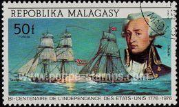 Malagasy Republic, Sc , SG 372 Used, Not Hinged - 1976 50f.  - Revolutions, America, Anniversary, Personalities, Nava...