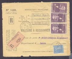 RECOUVREMENT / VALEURS A RECOUVRER Devant Env 1488 Tarif 2,15 Fr Tarif 12/07/1937  55 C Gambetta 50 C Semeuse - 1921-1960: Modern Period