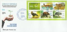 az1048F Azerbaijan 2014 Environment protection IDEA 2 s/s FDC Deer Eagle Bear Fox Leopard