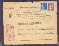 RECOUVREMENT / VALEURS A RECOUVRER Devant Env 1488 Tarif 2,15 Fr Tarif 12/07/1937  1,50 Fr Et 65 C Paix - Postmark Collection (Covers)