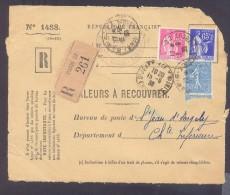 RECOUVREMENT / VALEURS A RECOUVRER Devant Env 1488 Tarif 2,15 Fr Tarif 12/07/1937  50 C Semeuse 65 C Et 1 Fr Paix - Postmark Collection (Covers)