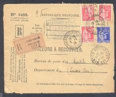 RECOUVREMENT / VALEURS A RECOUVRER Devant Env 1488 Tarif 2,15 Fr Tarif 12/07/1937  50 C Et 65 C Paix - 1921-1960: Période Moderne