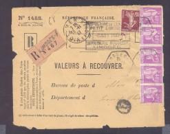 RECOUVREMENT / VALEURS A RECOUVRER Devant Env 1488 Tarif 2,15 Fr Tarif 12/07/1937  40 C Paix 15 C Semeuse - Marcophilie (Lettres)