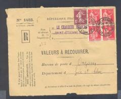 RECOUVREMENT / VALEURS A RECOUVRER Devant Env 1488 Tarif 2,15 Fr Tarif 12/07/1937  50 C Paix 15 C Semeuse - Poststempel (Briefe)