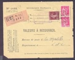 RECOUVREMENT / VALEURS A RECOUVRER Devant Env 1488 Tarif 2,15 Fr Tarif 12/07/1937  1 Fr Paix 15 C Semeuse - Marcophilie (Lettres)