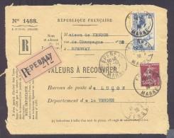 RECOUVREMENT / VALEURS A RECOUVRER Devant Env 1488 Tarif 2,15 Fr Tarif 12/07/1937  2 Fr Daudet 15 C Semeuse - Postmark Collection (Covers)
