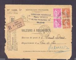 RECOUVREMENT / VALEURS A RECOUVRER Devant Env 1488 Tarif 2,50 Fr Tarif 17/11/1938  Paix Semeuse - Poststempel (Briefe)