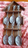 Antique WWI German Holland VOLENDAM Battle Of Texel Pewter Spoon SET Of 6psc. & Wooden Handle Holder - Spoons