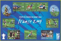 France Oblitération Cachet à Date BF N° 110 Ou 4063 à 4072 Coupe Du Monde De Rugby - Sheetlets