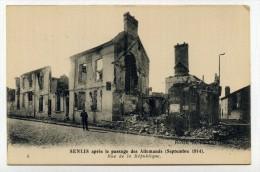 CP , MILITARIA , GUERRE 1914-1918 , SENLIS , Rue De La République - Guerra 1914-18